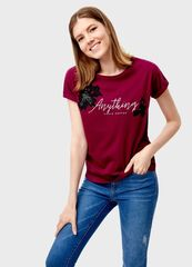 Кофта, блузка, футболка женская O'stin Футболка с кружевной аппликацией LT4T33-X8
