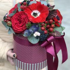 Магазин цветов Прекрасная садовница Цветочная композиция в коробочке с розой Ред Пиан