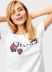 Кофта, блузка, футболка женская O'stin Футболка с розами LT4T3D-00