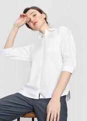 Кофта, блузка, футболка женская O'stin Объёмная хлопковая рубашка LS4W32-00