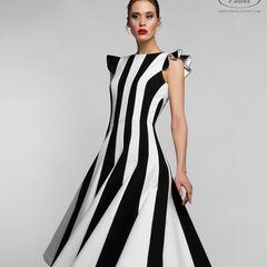 Платье женское Pintel™ Комбинированное чёрно-белое приталенное миди-платье Kuby