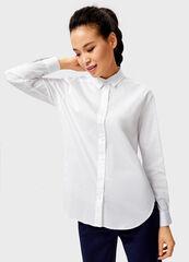Кофта, блузка, футболка женская O'stin Белая женская рубашка с контрастными лампасами LS1V42-00