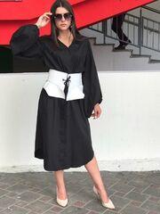 Платье женское It's me! (Это Я!) Чёрное платье со стильным поясом-баска