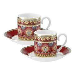 Подарок Villeroy&Boch Набор для эспрессо Samarkand Rubin, 4 предмета (2 чашки для эспрессо с блюдцами)