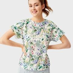 Кофта, блузка, футболка женская O'stin Футболка в цветочный принт LT1SA3-00