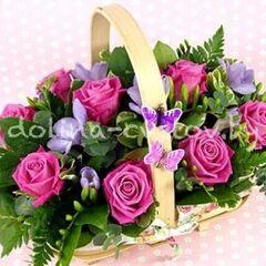 """Магазин цветов Долина цветов Корзина с цветами """"Попутный ветер"""""""