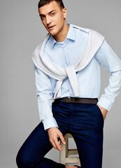 Кофта, рубашка, футболка мужская O'stin Рубашка из однотонного поплина MS6U11-60
