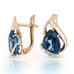 Ювелирный салон Jeweller Karat Серьги золотые с бриллиантами и топазами London арт. 1225332