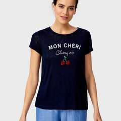 Кофта, блузка, футболка женская O'stin Футболка женская с вышивкой пайетками LT4UA3-69