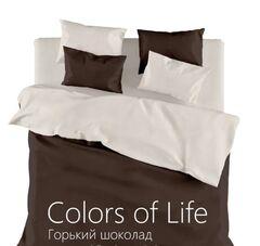Подарок Голдтекс Однотонное белье евро размера «Color of Life» Горький шоколад