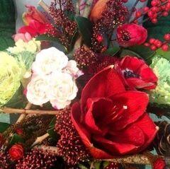 Магазин цветов Прекрасная садовница Букет насыщенный красный с амариллисом