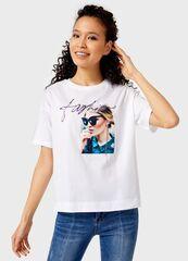 Кофта, блузка, футболка женская O'stin Футболка с принтом женская LT4UB7-00