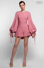 Брюки женские Pintel™ Нежно розовый мини-комбинезон-шорты с воланами по низу NAZENGA