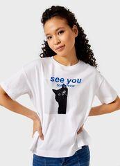 Кофта, блузка, футболка женская O'stin Футболка с принтом LT4UB7-01