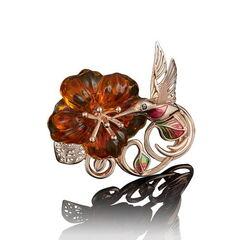 Ювелирный салон Платина Брошь из красного золота с янтарём и фианитами 04-0160-00-272-1110-46