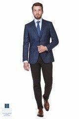 Пиджак, жакет, жилетка мужские HISTORIA Пиджак в тонкую среднюю клетку, темно-синий
