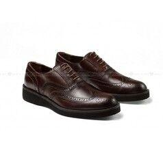 Обувь мужская Keyman Туфли мужские броги коричневые на сплошной подошве