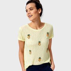 Кофта, блузка, футболка женская O'stin Футболка с вышивкой пайетками LT4UA3-33