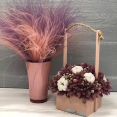 Магазин цветов Прекрасная садовница Цветочная композиция с хлопком и лагурусом