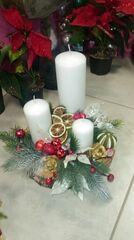 Магазин цветов Florita (Флорита) Новогодняя композиция на 3 свечи на натуральной основе арт. 201218