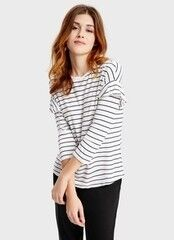 Кофта, блузка, футболка женская O'stin Футболка в полоску с воланами LT4S55