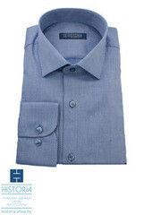 """Кофта, рубашка, футболка мужская HISTORIA Рубашка светло-синяя в мелкую структуру """"прямоугольники"""""""