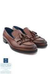 Обувь мужская HISTORIA Мужские туфли лоферы с кисточками рыжие