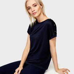Кофта, блузка, футболка женская O'stin Футболка с пуговицами на плечах LT4U5D-68