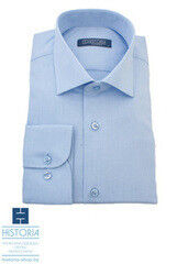"Кофта, рубашка, футболка мужская HISTORIA Рубашка светло-голубая с плетением ""ромбик"""