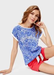 Кофта, блузка, футболка женская O'stin Футболка в мoрской принт LT1SB2-00