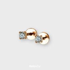 Ювелирный салон Белорусские Бриллианты Серьги из золота со вставкой бриллиант синт. 31010008