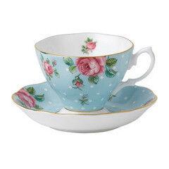 Подарок Royal Albert Чашка чайная с блюдцем Polka Blue/Vintage