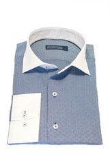 Кофта, рубашка, футболка мужская HISTORIA Рубашка мужская, синий узор, белый воротник