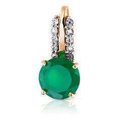 Ювелирный салон Jeweller Karat Подвеска золотая с бриллиантами и хризопразом арт. 3236005/9