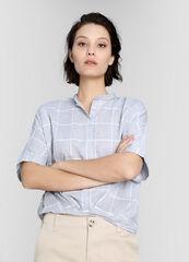 Кофта, блузка, футболка женская O'stin Хлопковая блузка в клетку с удлинённой спинкой LS4W84-92