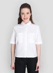 Кофта, блузка, футболка женская O'stin Укороченная хлопковая рубашка LS2W82-00