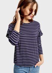 Кофта, блузка, футболка женская O'stin Футболка в полоску с воланами LT4S55-68