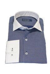 Кофта, рубашка, футболка мужская HISTORIA Рубашка мужская,темно синяя клетка,  белый ворот