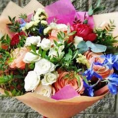 Магазин цветов Прекрасная садовница Букет Фруктовый сорбет из пионов и розы Кахала