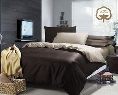 Подарок Tango Однотонное постельное белье из сатина на резинке евро JT46