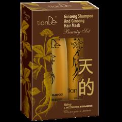 Подарок tianDe Набор с экстрактом женьшеня: шампунь и маска (220 + 100 г)