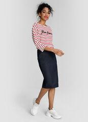 Кофта, блузка, футболка женская O'stin Полосатый кроёный джемпер LT4W55-14