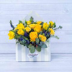 """Магазин цветов Долина цветов Цветочная композиция """"Желтые розы"""""""