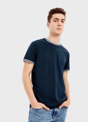 Кофта, рубашка, футболка мужская O'stin Футболка с контрастным рибом MT7S35-68