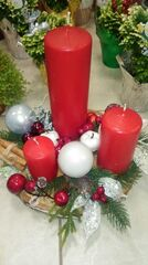 Магазин цветов Florita (Флорита) Новогодняя композиция на натуральной основе на 3 свечи арт. 201222