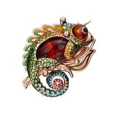 Ювелирный салон Платина Брошь из красного золота с янтарём 04-0209-00-271-1110-58
