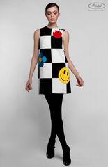 Платье женское Pintel™ Комбинированное чёрно-белое оп-арт мини-платье TIIA