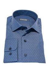 Кофта, рубашка, футболка мужская HISTORIA Рубашка мужская, синяя в мелкий рисунок