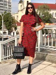 Платье женское It's me! (Это Я!) Платье красное в клетку с запахом