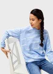Кофта, блузка, футболка женская O'stin Толстовка с диагональным принтом LT4V52-61
